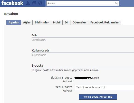 Facebook giriş e mail adresinizi değiştirin